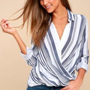 Lulus Blue and White Striped Surplice Top